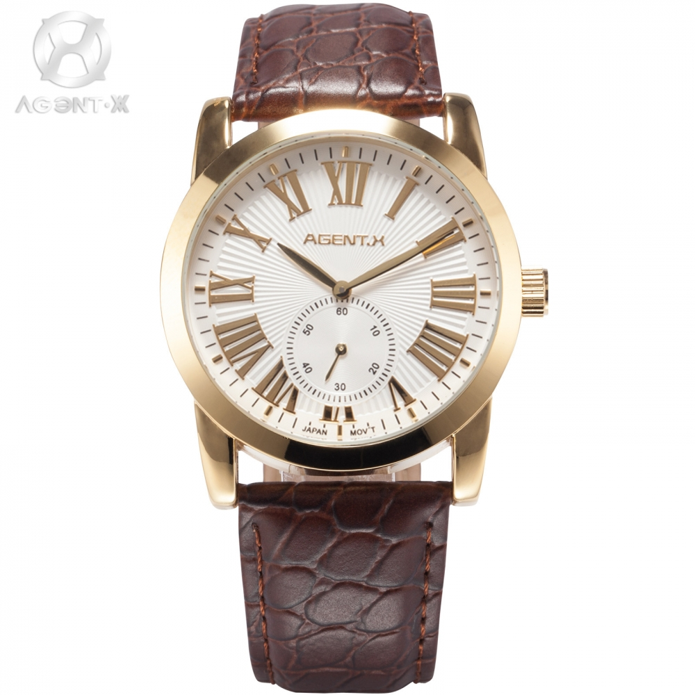 AGENTX Luxury Brand Mens Casual Watches Gold Case Roman Brown Leather Band Relogio Male Clock Men Business Wristwatch / AGX090 rosra brand men luxury dress gold dial full steel band business watches new fashion male casual wristwatch free shipping