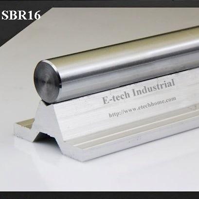 CNC Linear Rail Linear Guide SBR16 Length 185mm Shaft + Aluminum Bottom Support