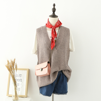2018 Woman Loose Knitted Vest Sweaters Fashion Solid Gray Casual Sleeveless V Neck Thick Knitwears Pink
