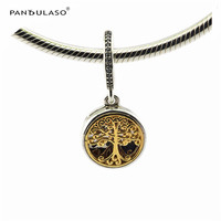 Pandulaso Family Roots Clear CZ Beads For Jewelry Making Original 925 Sterling Silver Fit Bracelets Bangles
