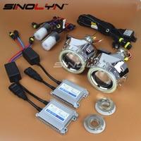 Bi xenon HID объектив проектора фар металлический 2,5 дюйм(ов) фары комплект с COB светодиодный Ангельские глазки DRL Halo стайлинга автомобилей настро