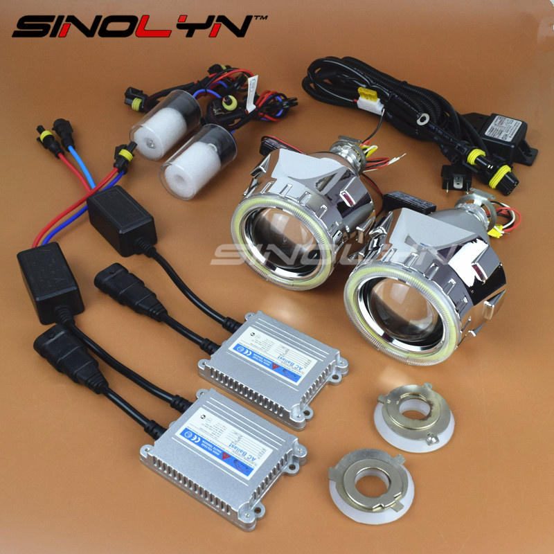 HID Bi xenon Lens Projector Headlight Full Metal 2.5 inches Headlamp Kit With COB LED Angel Eyes DRL Halo Car Styling Tuning