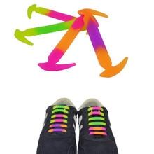 12 Piece/lot Gradient Color Unisex Elastic Silicone Shoelace Match All Lace Shoes World Hot Sale NO Tie Shoelace Children Adult