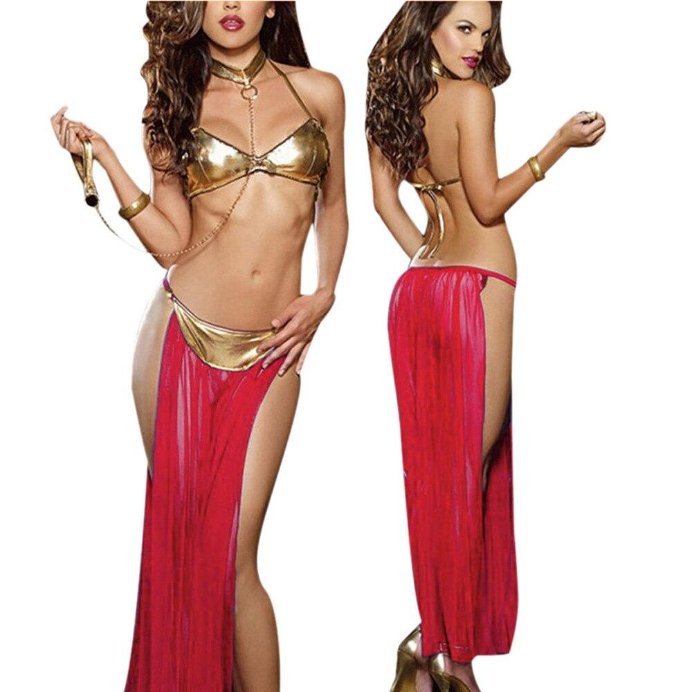 Women Hot Erotic Lingerie Set Sexy Harness Bra+Perspective Lace Dress Underwear+Handcuff Temptation Sexiest Sleepwear Underwear