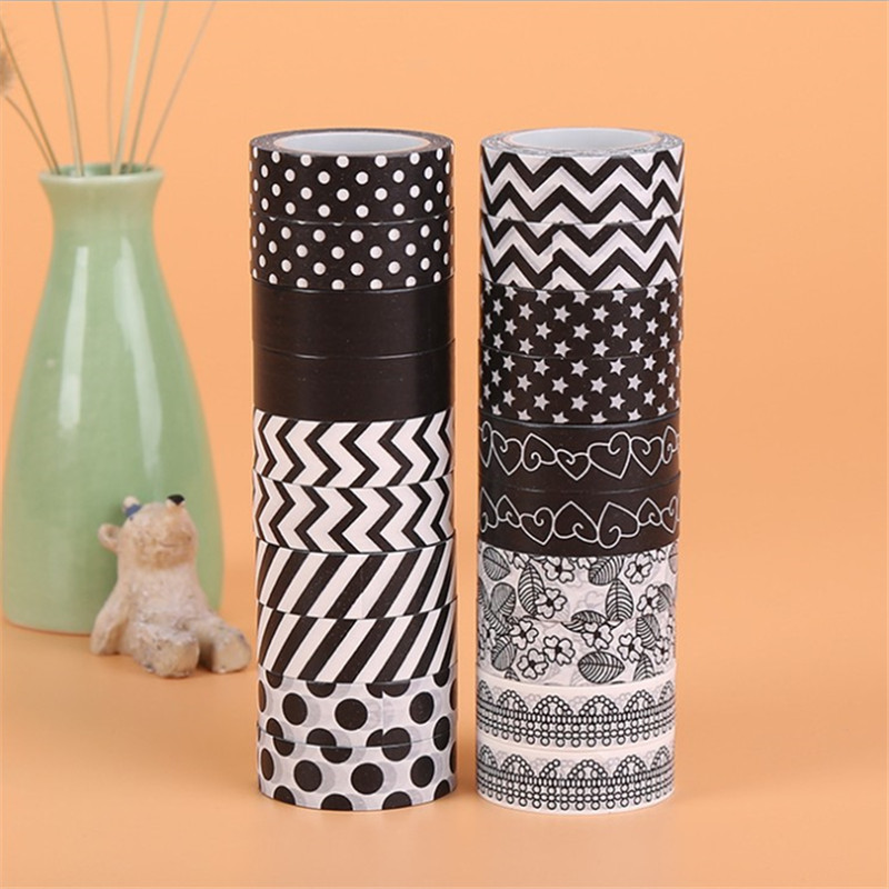 15mm*10m New Black Series Washi Tape Kawaii Adhesive Tape Lot Dreamcatcher Grid Japanese DIY Scrapbooking Fita Adesiva Papeleria