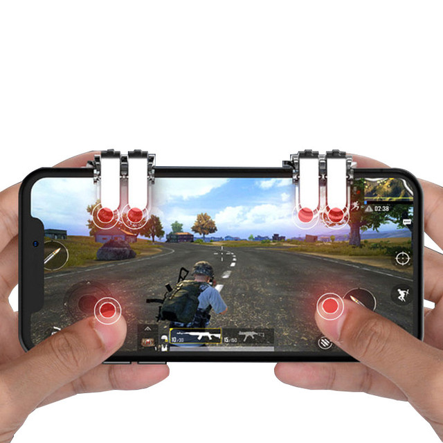 PUBG Mobile Game Phone Gamepad Controller Gaming Joystick Six-finger Linkage Trigger Fire Button Aim Key Shooter
