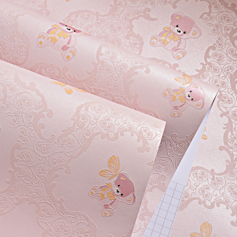 Cartoon Teddy Bear Kids Rooms Wall Paper 3d Butterfly Baby Boys Girl Bedroom Decor Wallpaper Pink Blue Wallpapers Roll Zp107 Wallpapers Aliexpress