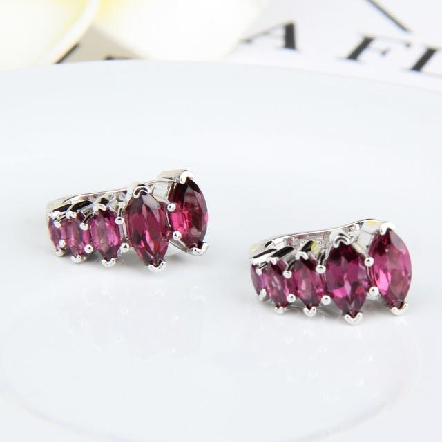 Gem's Ballet Rhodolite Garnet 925 Sterling Silver Earrings Fine Jewelry Gemstone Gorgeous Drop Earrings For Women
