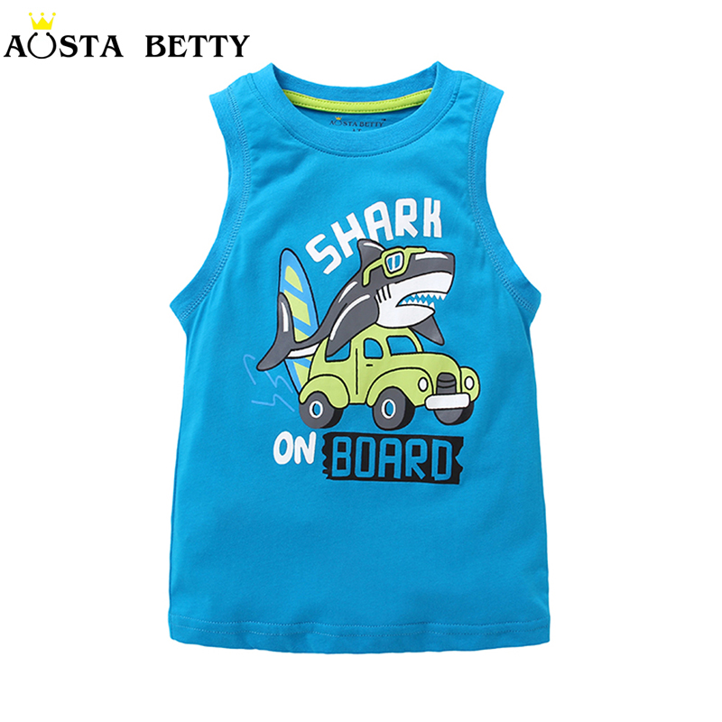 Boy Vest Children Boy Sleeveless Tshirts Cartoon Shark