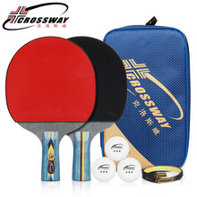 CROSSWAY Professional Table Tennis Racket Horizontal Straight Grip Ping Pong Bats with Table Tennis Racket Case Ping-pong Paddle(China)