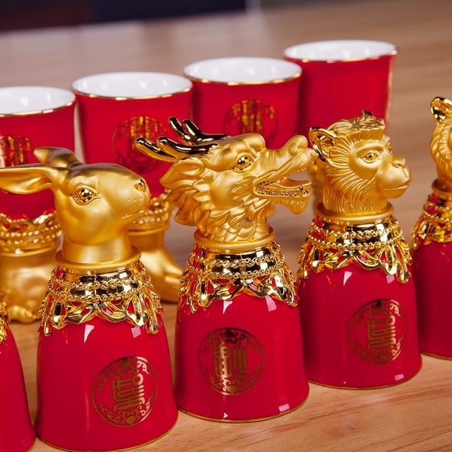 High Quality Small 24k Gold Plated Chinese Zodiac Bone China Ceramic So Ju Shochu