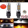 2X T20 7443 2835 42-SMD Dual Color White/Amber Switchback Brake Reverse Back Up Turn Signal LED Lights