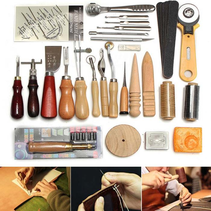Leather Craft 37pc Hand Sewing Stitching Punch Carving Tool Kit