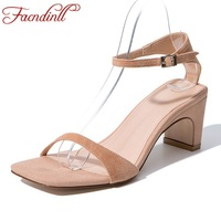 New 2018 Summer Women Shoes Kid Suede Leather Sandals High Heels Sexy Open Toe Party Wedding
