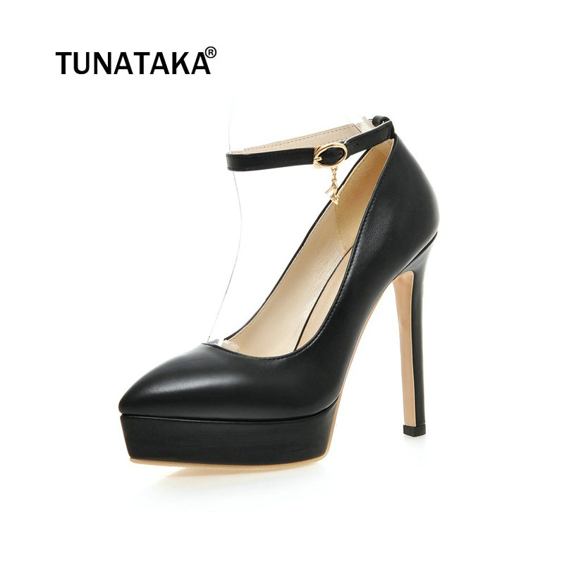 women platform thin high heel ankle pumps fashion buckle dress pointed toe spring autumn shoes women
