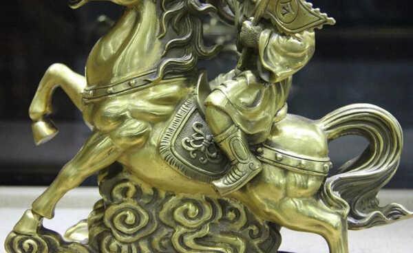 פליז נחושת סינית S1169 SCY ישן אלגנטי פנג שואי גלגל המזלות קוף שנה לרכב על סוס פסל פיסול (0319 הנחה 35%)