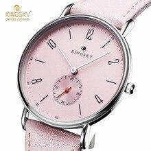 Милые розовые женские Часы Kingsky Повседневное кожаный ремешок аналоговые кварцевые часы модные женские Часы Small seconds Relogio feminino
