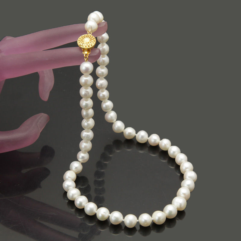 HOT Womans gift 8-9mm white Fresh water akoya pearl necklace 18 >Selling jewerly free shipping