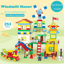 253pcs Building Blocks Sets Model Kit Big Size Building Brick Rotating Windmill Birthday Gift Educational Toys For Kids#E стоимость