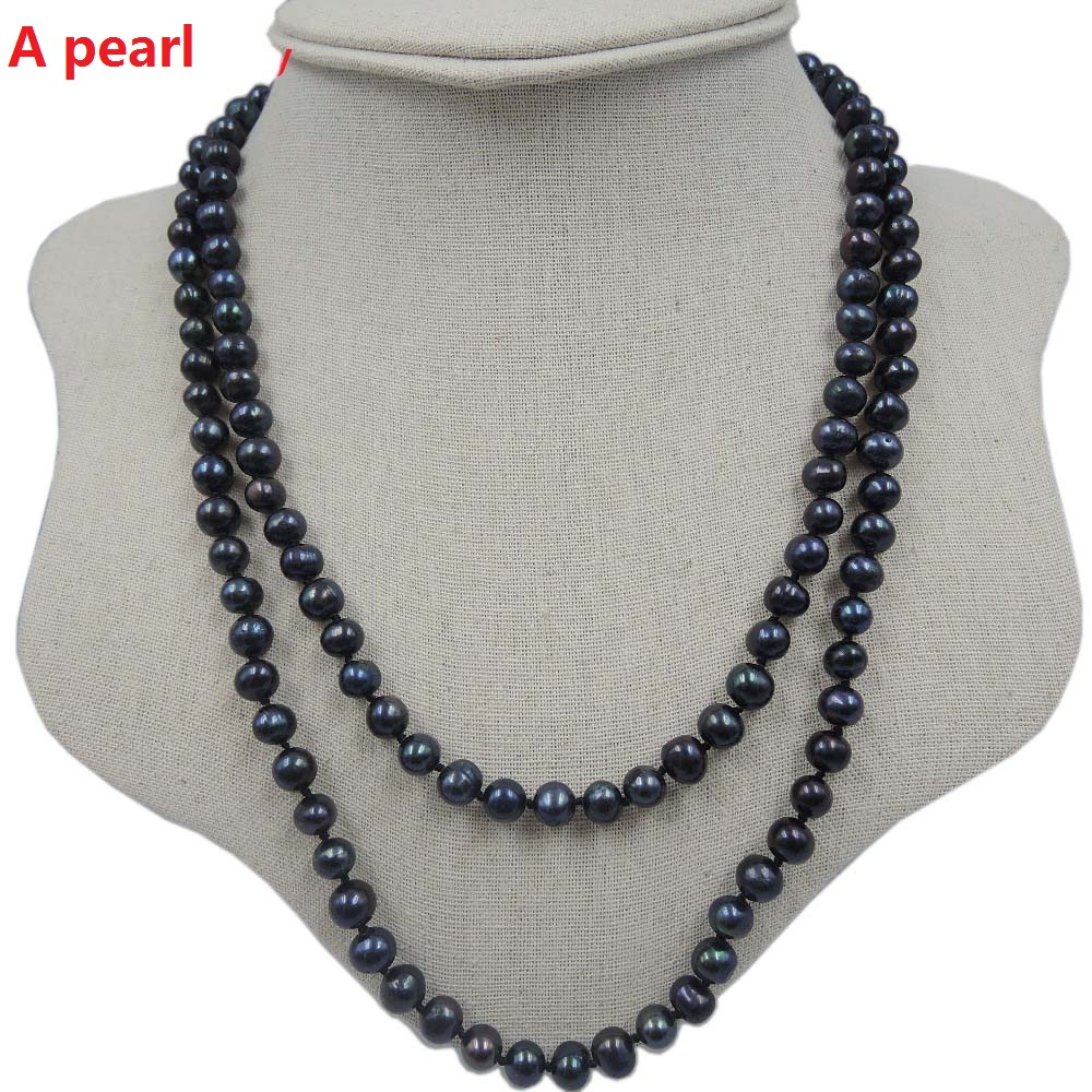 100%NATURE FRESHWATER AAA PEARL LONG NECKLACE-120 - ファッションジュエリー - 写真 4