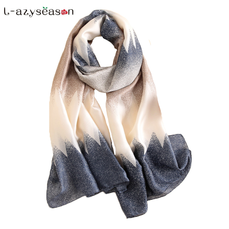 2018 New Brand bandana Gradient color Silk Scarf Women Luxury Fashion stole Summer hijab shawl Scarves wraps Long size 90X180 CM
