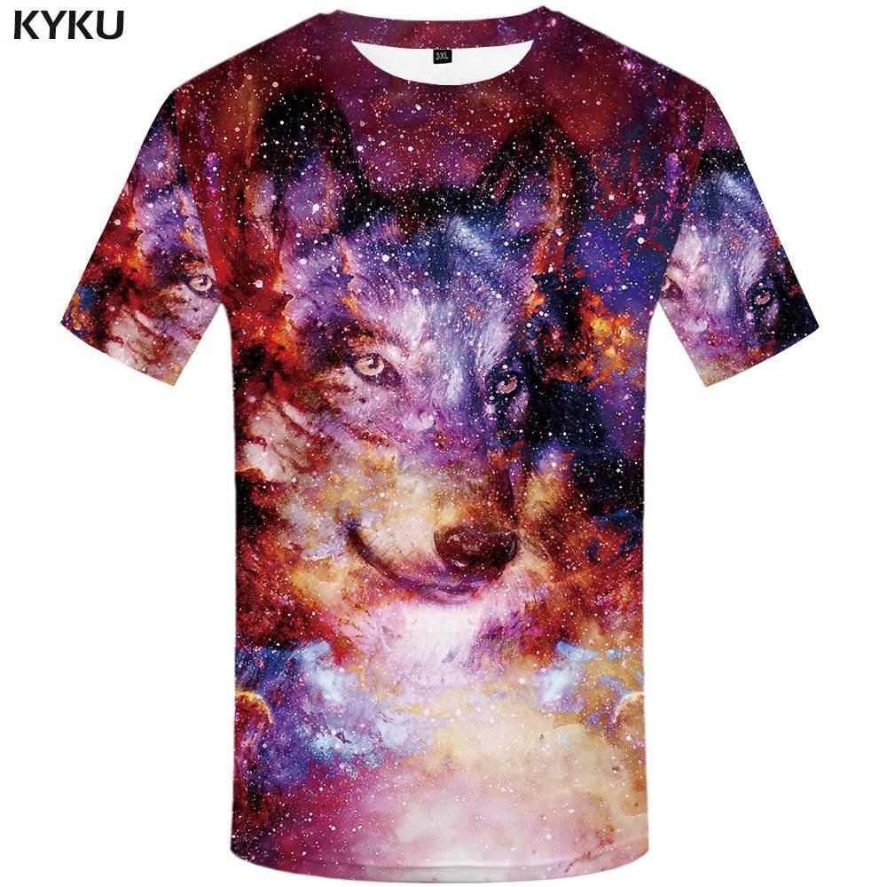 Neue Wolf T-shirt Nebula T-shirts Galaxy T-shirts Raum Kleidung Universum T shirts Frauen Felsen Lustige 2017 Frau