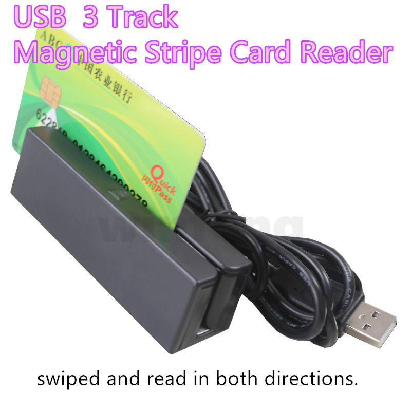 USB 3 Track Magnetic Stripe Card Reader Mini Financial Equipment HICO LOCO Magnetic Card Reader for Windows OS 200pcs track 1 2 and 3 magnetic stripe blank card for school library management access control