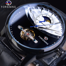 Forsining Tourbillon Mechanical Male Watches Automatic Moon Phase Half Design Black Leather Strap Watch Brand Relogio Masculino