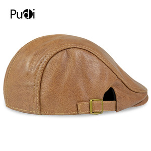 Image 4 - HL046  Men Genuine Leather Newsboy Hat Cap Gatsby Flat Golf Cabbie Baker Beret Retro brand new mens baseball cap