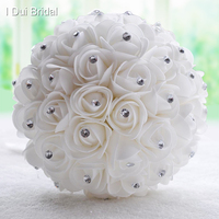 Kryształ Druhna Bukiet Ślubny Biały Kości Słoniowej Sztuczne Rose Flower Rhinestone Centralnym Ręcznie Kwiat