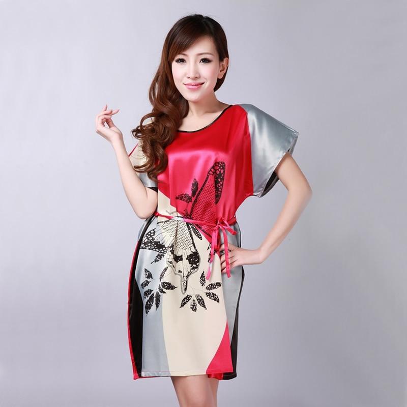 Brand New Chinese Women Robe Silk Satin Robe Sexy Nightshirt Sleepwear Print Bath Gown Summer Casual Home Dress One Size RB076