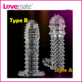 A+B 2pcs Newest Adult Transparent Big Heads Crystal Penis Sleeve Ring Dildo Spike Condom Special Condoms Male Female Sex Product