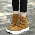 increased height leisure Korean beauty solid suede leather women wedges shoes 2017