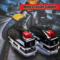 2Pcs Bright Black/Black/Blue /Red Motorcycle Cruiser Hard Trunk Saddle Bags Luggage Brackets With Lights Mounted ABSR