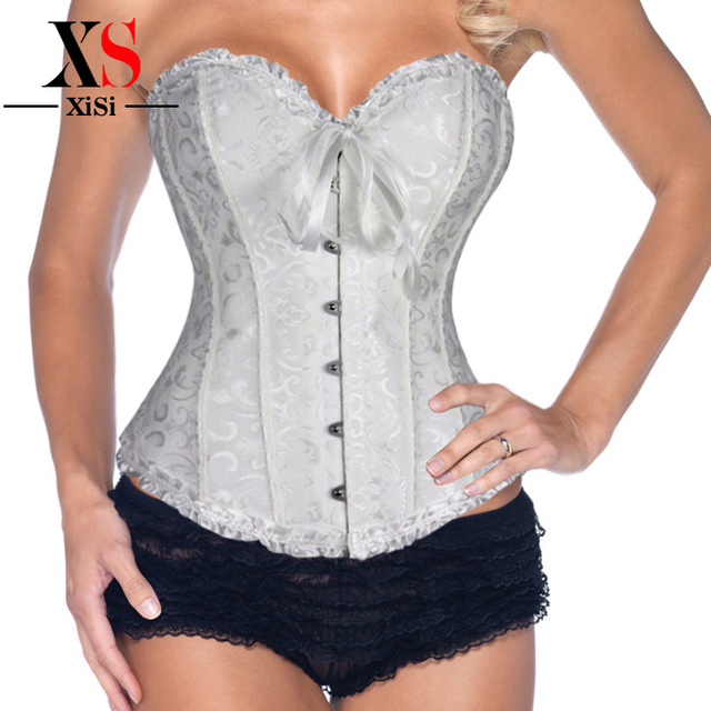 Caliente de cintura negro mujer dormir encaje Sexy Tops hueso de acero del corsé de Overbust vestidos ( s,ml xl, 2xl, 3xl, 4xl, 5xl, 6XL