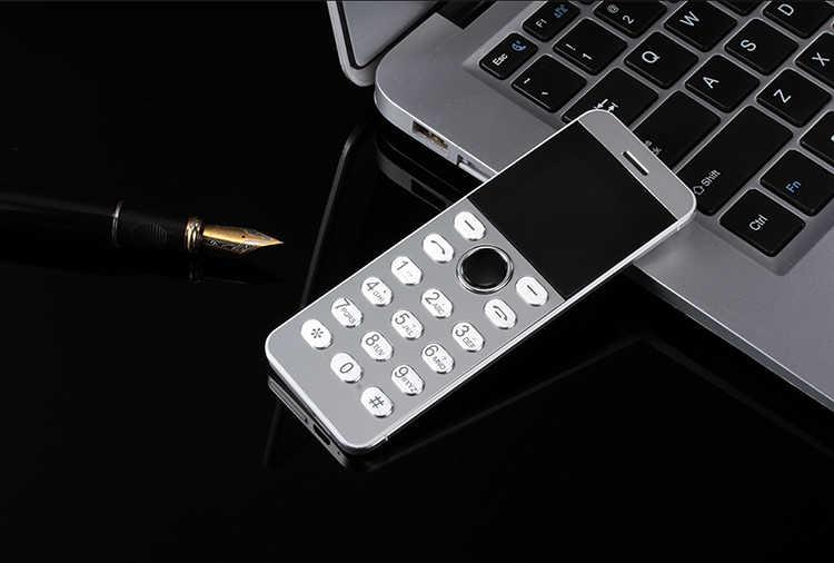 922e14323ef1f8 ... ULCOOL V16 Phone Super Mini Ultrathin Card Metal Body Bluetooth 2.0  Dialer MP3 Dual SIM Card ...