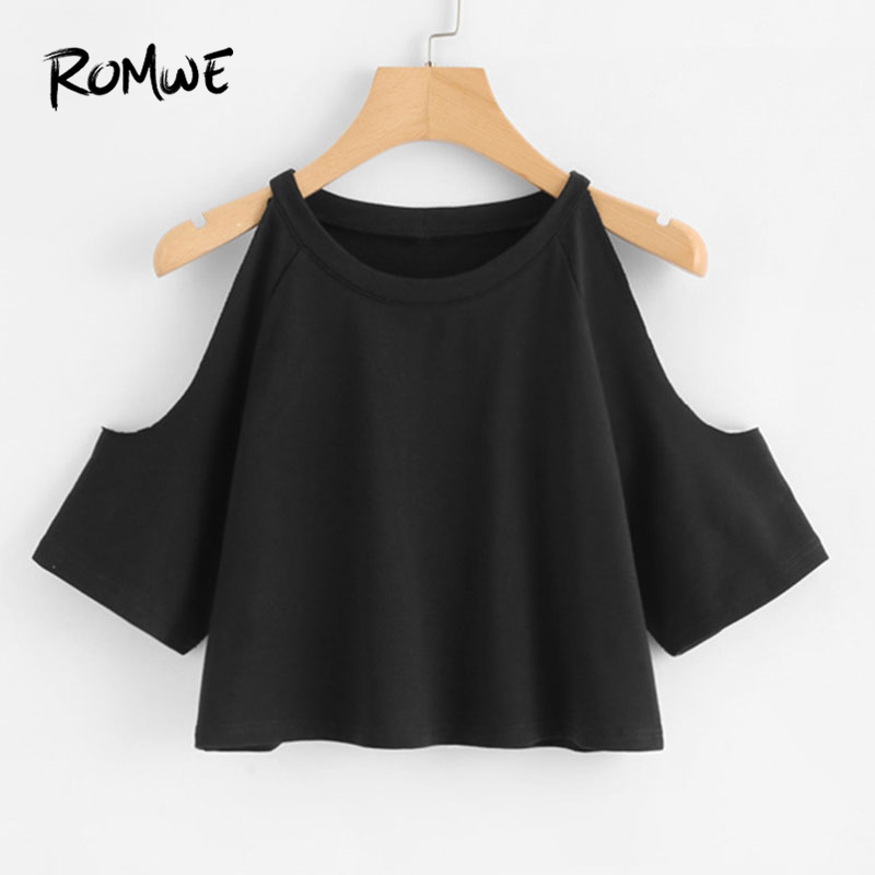 ROMWE Open Shoulder Crop Tee 2018 Black Round Neck Raglan Sleeve Casual Wome Top New Arrival Half Sleeve T Shirt