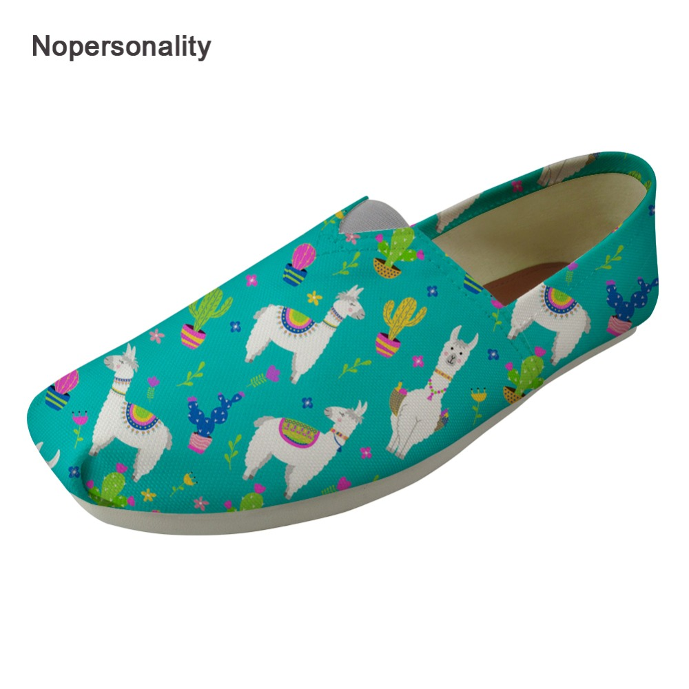 Nopersonality Multicolor Cactus Alpaca Print Flats for Women Casual Femme Ladies Spring Autumn Loafers Fashion Summer Flats