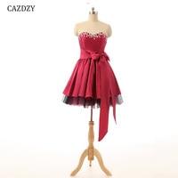 CAZDZY Sweet Heart vestido coctel Strapless Satin Mini Dress Zipper up for Graduation Party With Beading Stone Bone 1 63