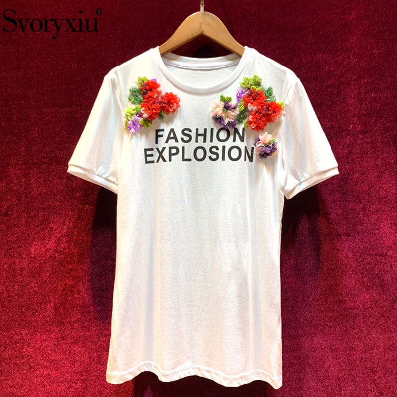 Svoryxiu 2019 New Runway Summer Cotton White Tees Tops Women s Fashion Appliques Letter Printed Casual