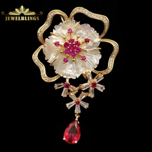 Vintage Pink Pistil White Shell Pearl Sakura Brooch Gold Tone Opens Baguette Cut CZ Floral Blossom Cherry Drop Pins Wrap Jewelry