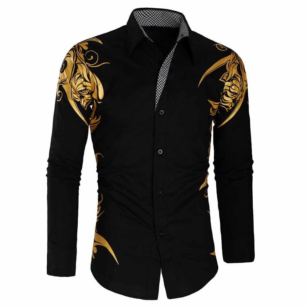 2019 春秋特徴シャツ男性カジュアルゴールドシャツ新着長袖カジュアルスリムフィット男性シャツ