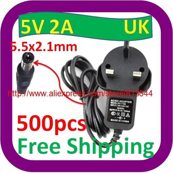 500 шт в наборе, 100 V-240 адаптер конвертер DC 5 V 2A/2000mA Питание вилка переменного тока стандарта Великобритании/DC 5,5 мм x 2,1 мм