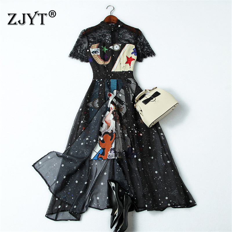 Fashion Designer Runway Summer Dress Women Clothes 2019 New Elegant Short Sleeve See Through Lace Patchwork