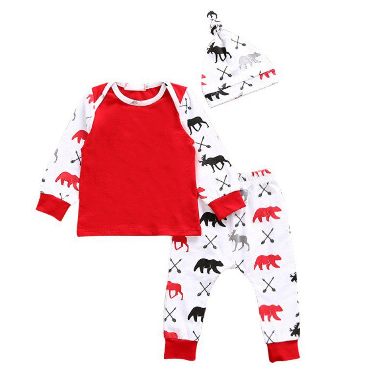 Newborn Baby Boy Girl Clothing Set Clothes 3 PCS Set Cotton Full Sleeve Bear Printed T-shirts + Pants + Hat Autumn