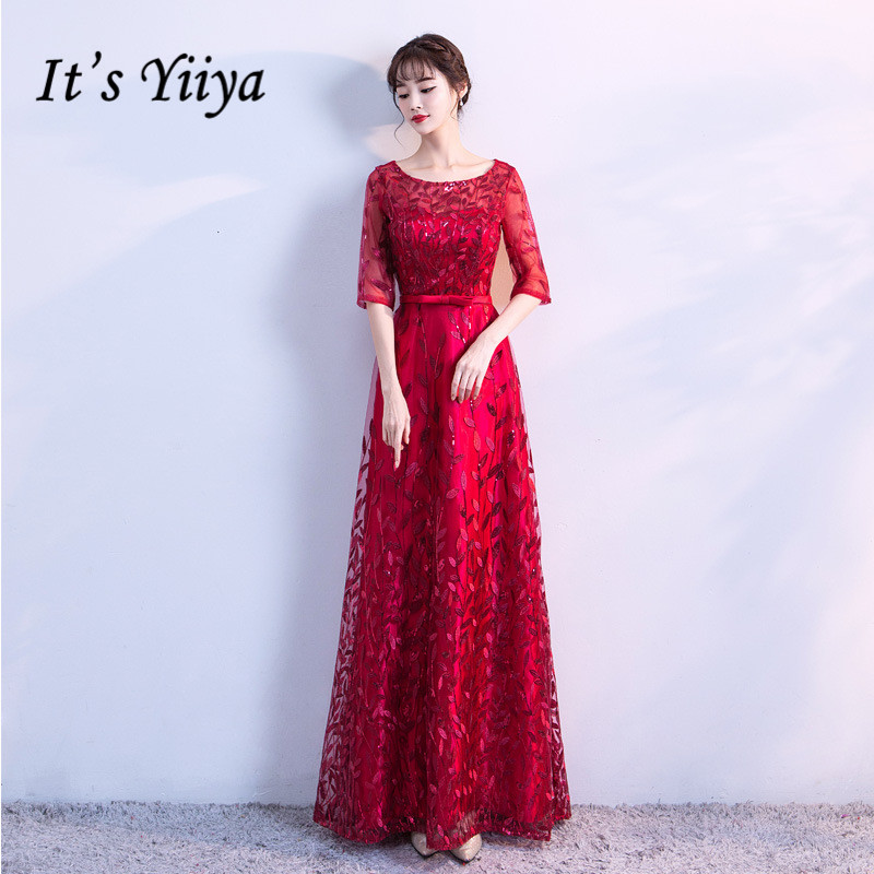 It's YiiYa Evening Dress Embroidery Print Wine Red Long Formal Dresses ElegantO-neck Half Sleeve A-line Party Gown E017