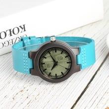 цена Bamboo Watch Women Quartz Sport Natural Lightweight Wooden Wristwatch Ladies Blue Leather Band Timepieces Clock Gift reloj mujer онлайн в 2017 году