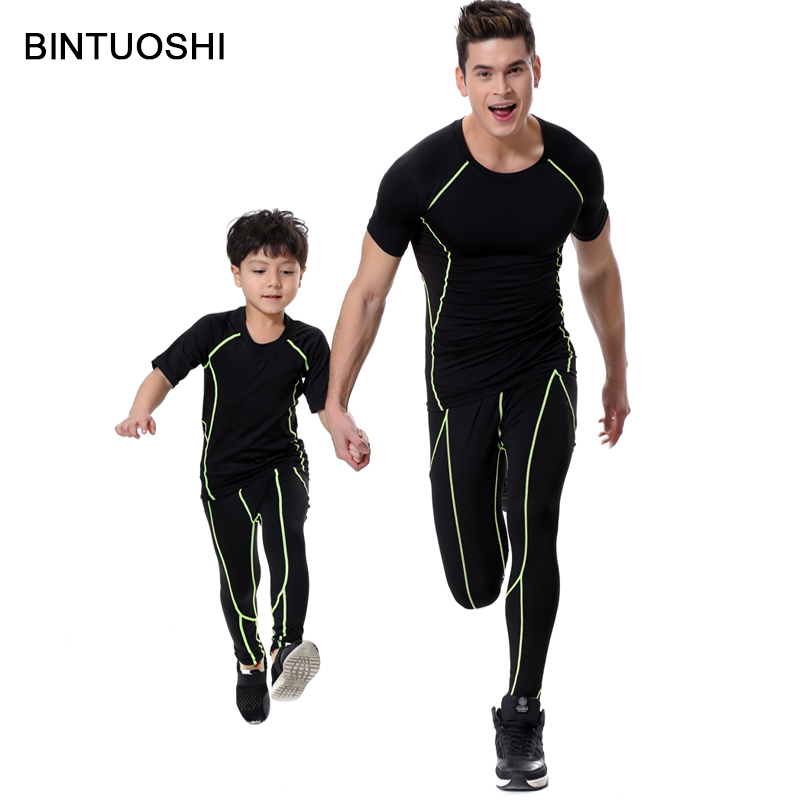 BINTUOSHI Cool Men and Kids Compression Set Workout Show Muscle Bodycon Tights Mens Underwear Shirt with Pants