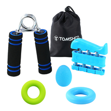 TOMSHOO Hand Grip Strengthener Workout (5 in 1)-Hand Strengthener+Finger Stretcher+Strengthener Ball+2 Rings
