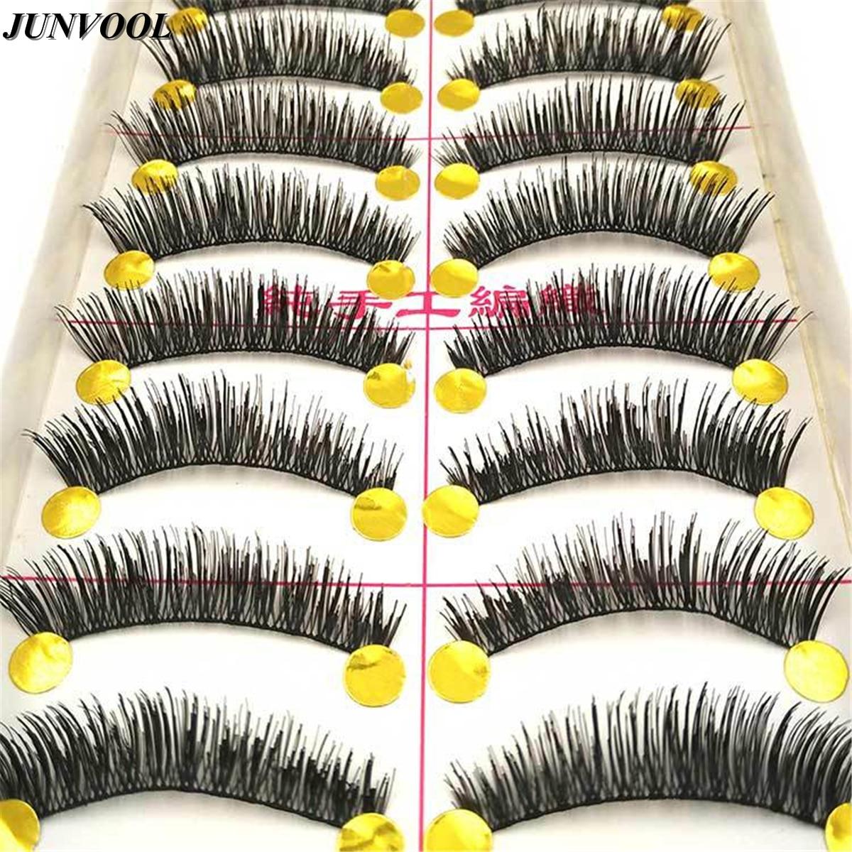 In Design; 10pairs Professional New Black Natural Long Thick Cross Makeup Beauty False Eyelashes Fake Eye Lashes Extension Tools Novel
